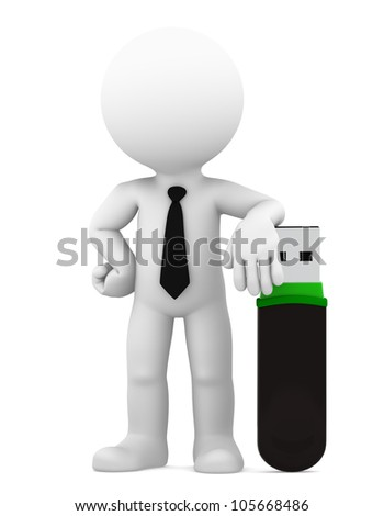 Businessman standing with big usb flash drive. Isolated