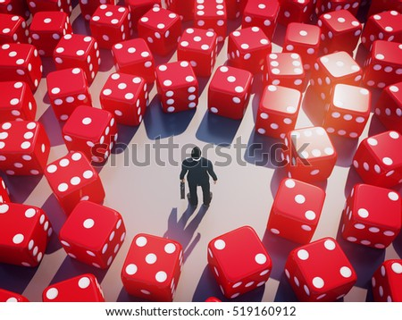 Businessman standing with rolling dice around, Business risk concept.3D rendering.