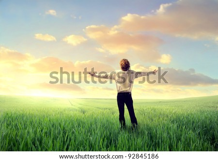 Businessman stretching out his arms on a green meadow