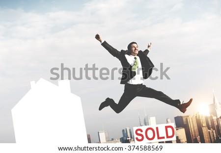 Businessman Success Sold Real Estate Concept