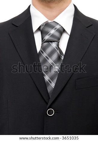 Businessman suit chest. On white.