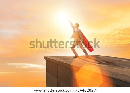 Businessman superhero successful in career ladder concept #754482829