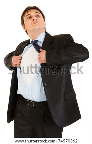 Businessman superman tearing his shirt - add your text isolated on white