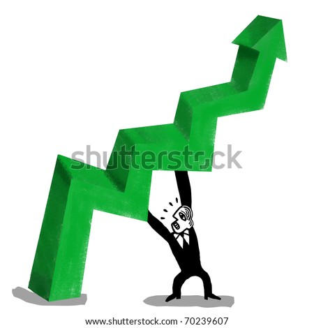 Businessman supports the schematic arrow of the economy, to raise it