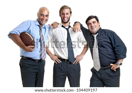 Businessman team of rugby fans isolated in white