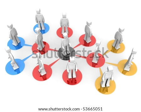 Businessman teams network multi level concept 3d illustration