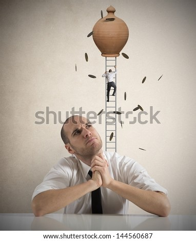 Businessman thinking about earning