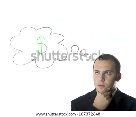Businessman thinking about money,isolated on white background