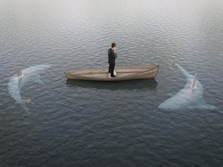 businessman thinking  boat with sharks around him