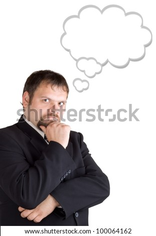 Businessman thinking, isolated on white background. Blank balloon at the top of the photo for your text