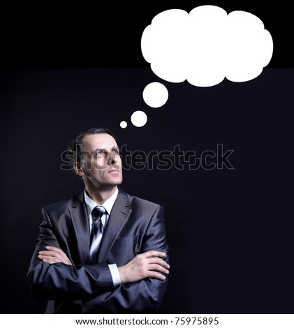 businessman thinking with a thought bubble made of clouds