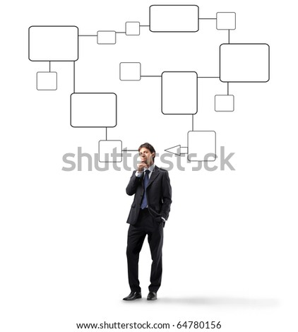 Businessman thinking with schemes on the background