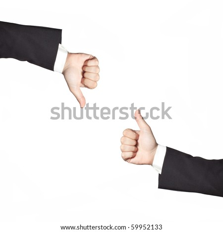Businessman thumbs up and down isolated on white