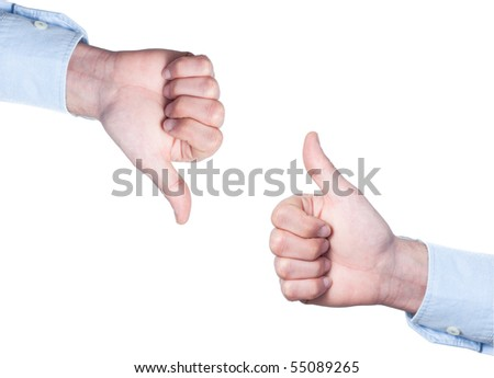 Businessman thumbs up and thumbs down isolated on white