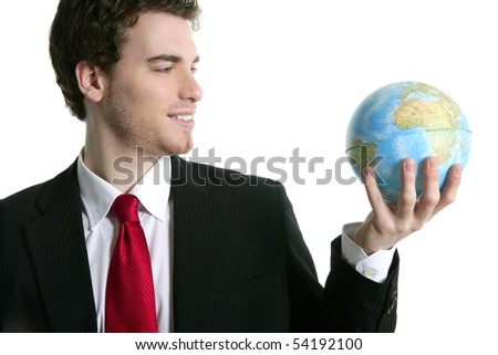 businessman tie suit with world ball global map in hand power communication metaphor