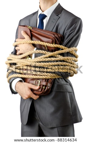 Businessman tied up on white