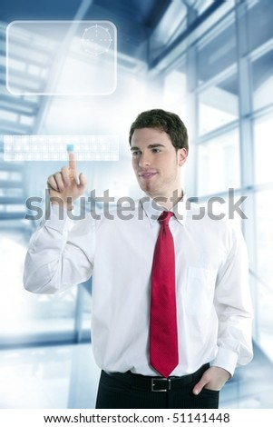 businessman touch finger copy space pad with hand [Photo Illustration]