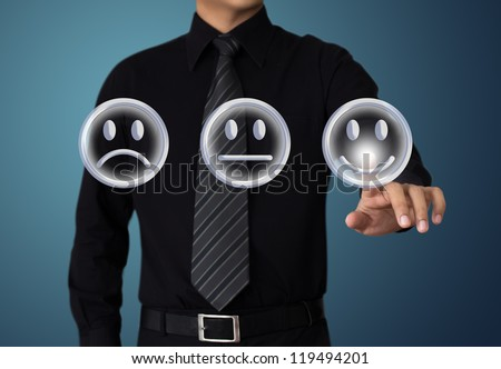 businessman touch  happy mood