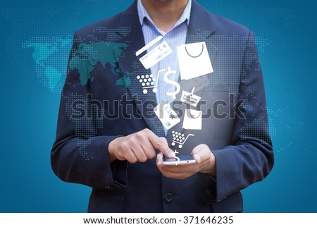 Businessman touch screen mobile phone to display business icon and technology, Design concept of technology information and e-commerce