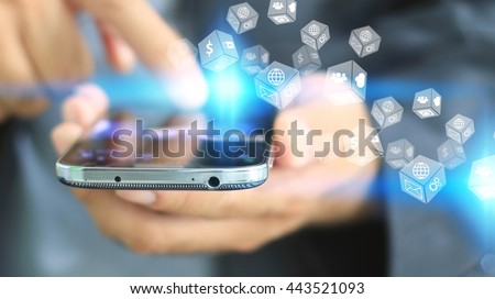 Businessman touch screen smart phone with social icons, Social media concept.