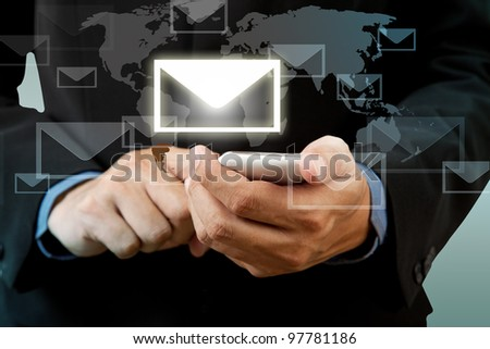 Businessman touch smart phone in hand with email social network
