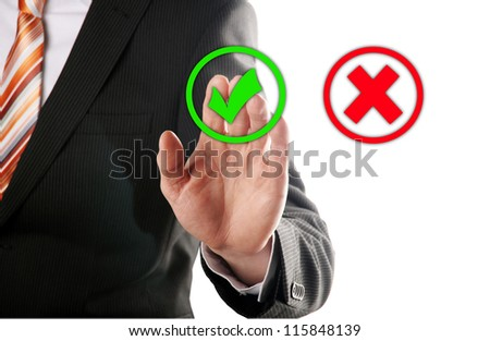 businessman touches of the button right in front of white background