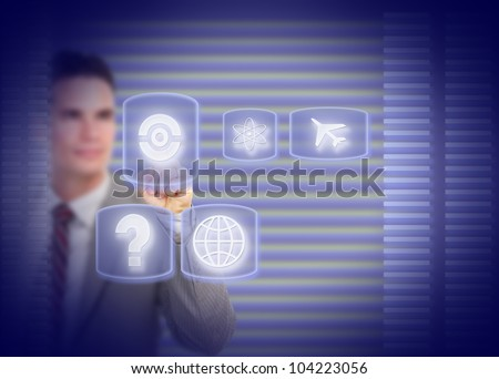 Businessman touching a holographic screen. Technology background. - stock photo
