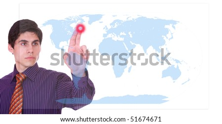 businessman touching a on a world map virtual screen , global choice concept