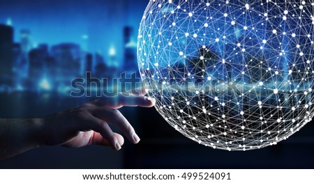 Businessman touching abstract connection interface with lines and dots 3D rendering #499524091