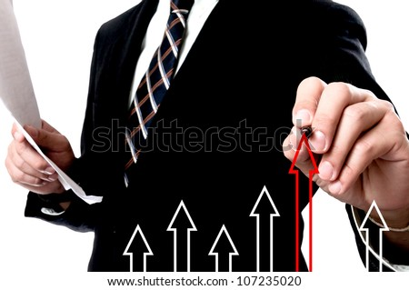 Businessman Touching arrow lift up - stock photo