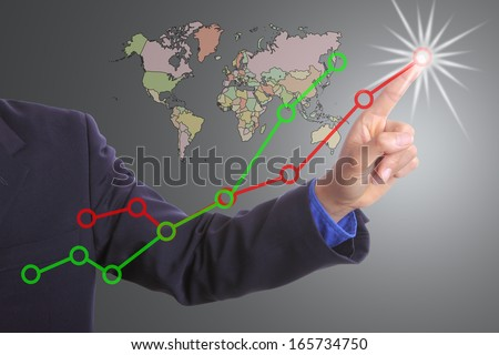 Businessman touching button for growing with business map concept