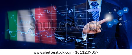 Businessman touching data analytics process system with KPI financial charts, dashboard of stock and marketing on virtual interface. With Italia flag in background. Foto stock ©