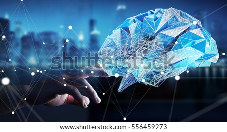 Businessman touching digital human brain with cell and neurons activity 3D rendering #556459273