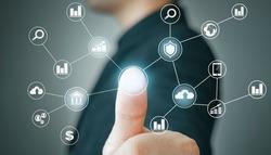 businessman touching fingerprint and business interface of technology digital. new technology bigdata and business process strategy, automate operation, customer service management, cloud computing
