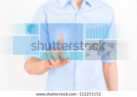 Businessman touching futuristic touchscreen interface with some graphic, charts and news. Isolated on white.