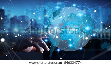 Businessman touching global network and data exchanges over the world 3D rendering #546334774