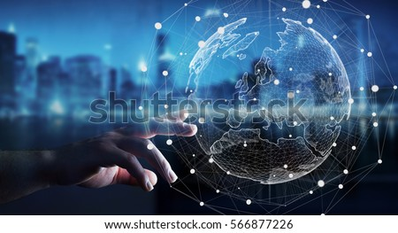 businessman touching global...