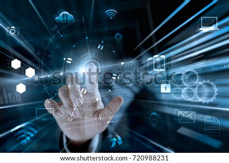 Businessman touching global networking data exchanges and payments online shopping with icon customer connection on worldwide information background, m-banking and omni channel, multichannel
