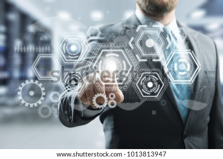 Businessman touching icon network #1013813947
