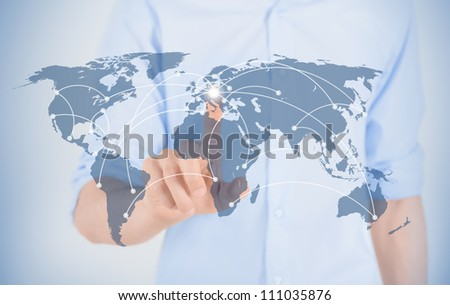 Businessman touching on world map with futuristic communication interface.