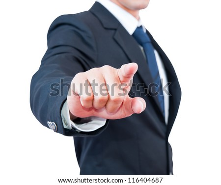 Businessman touching selective focus on the finger