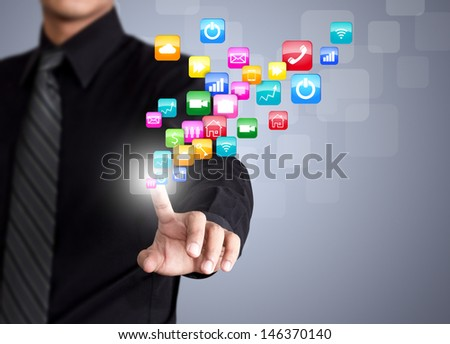 Businessman touching social network icon