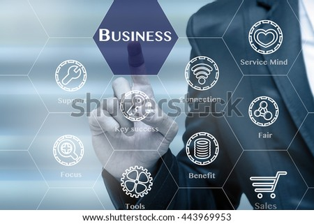 Businessman touching the Business icon on business success tools background, Business technology concept  #443969953