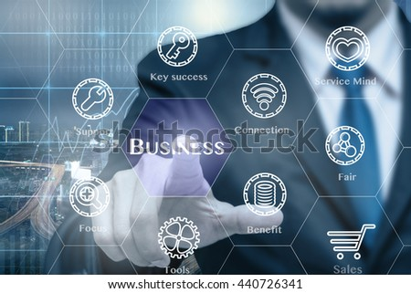 Businessman touching the Business icon with business success tools on Trading graph on the cityscape at night background, Business technology concept  #440726341