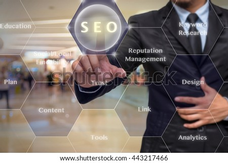 Guy pointing to SEO from wall panel