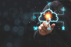 Businessman touching virtual cloud computing with icon to transfer data information and upload download application. Technology transformation concept.