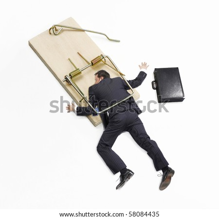 Businessman trap,businessman failure,businessman on mousetrap on white background. #58084435