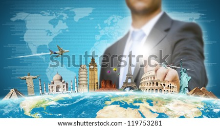 Businessman travel the world concept