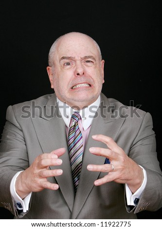 businessman trying to choke someone looking very stressed out