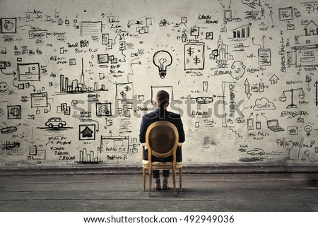 Businessman trying to solve problems